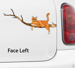 "CLR:CAR - ORANGE Charming Cat on Branch - Stained Glass Style Vinyl Decal for Car | Truck | Outdoor © YYDC (8.5""w x 4""h)"