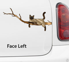 "CLR:CAR - SIAMESE Charming Cat on Branch - Stained Glass Style Vinyl Car Decal Sticker © YYDC (8.5""w x 4""h)"