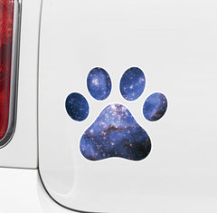 "CLR:CAR - Cosmic Dog Pawprint - Galaxy Star Paw Print - Vinyl Car Decal Sticker (3""w x 3""h)"