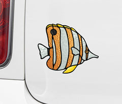 CLR:CAR - Tropical Fish - Copperband Butterflyfish - Stained Glass Style Opaque Vinyl Car Decal ©2018 YYDC (SIZE CHOICES)