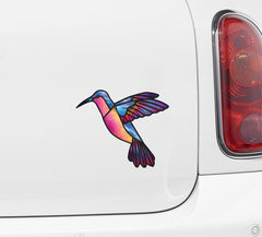 CLR:CAR - Hummingbird Stained Glass Style Vinyl Car Decal (Opaque) © 2016 YYDC (Size and Color Choices Available)