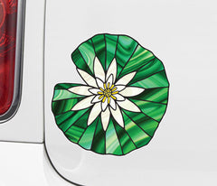 CLR:CAR - Waterlily Lilypad - Lotus - Stained Glass Style Vinyl Car Decal © YYDC (VARIATIONS AVAILABLE)