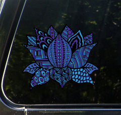 "CLR:CAR - Patterned Indigo Lotus Flower - Design 3 - Vinyl Decal for Cars | Trucks | Outdoor Use - © 2016 YYDC (COLOR CHOICES) (5""w x 4.25""h)"