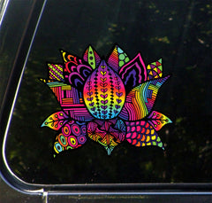 "CLR:CAR - Patterned Rainbow Lotus Flower - Design 3 - Vinyl Decal for Cars | Trucks | Outdoor Use - © 2016 YYDC (COLOR CHOICES) (5""w x 4.25""h)"