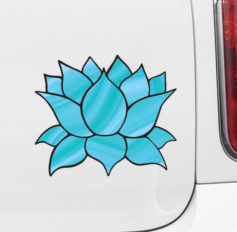 "CLR:CAR - Stained Glass Style Lotus Flower - Design 4 - Vinyl Decal for Car | Truck | ATV | Outdoor Use - © 2016 YYDC (COLOR CHOICES) (5""w x 4.5""h)"