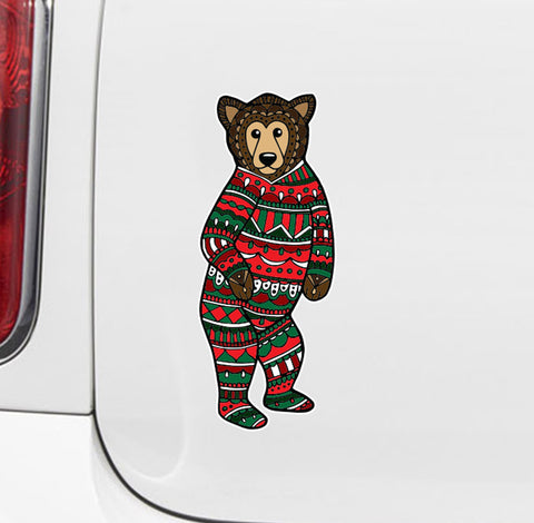 "CLR:CAR - Patterned Bear - Pajama Bear - Vinyl Car Decal - Copyright ©YYDC (MD 2.5""w x 6""h)"