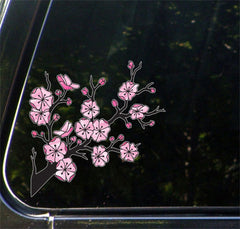 "CLR:CAR - Cherry Blossom Branch - Stained Glass Style Vinyl Car Decal Sticker - © YYDC (5.5""w x 5.5""h)"