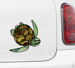 CLR:CAR - Honu Sea Turtle - Stained Glass Style Vinyl Decal for Cars | Trucks | Outdoor Use - ©YYDC (Green-Brown)