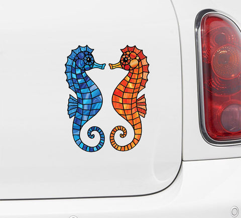 CLR:CAR - Seahorse - Stained Glass Style - Vinyl Decal for Cars & Trucks - ©2016 YYDC (VARIATIONS AVAILABLE)