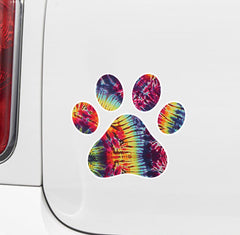 "CLR:CAR - Rainbow Tie Dye Dog Pawprint - Paw Print - Vinyl Car Decal Sticker (3""w x 3""h)"