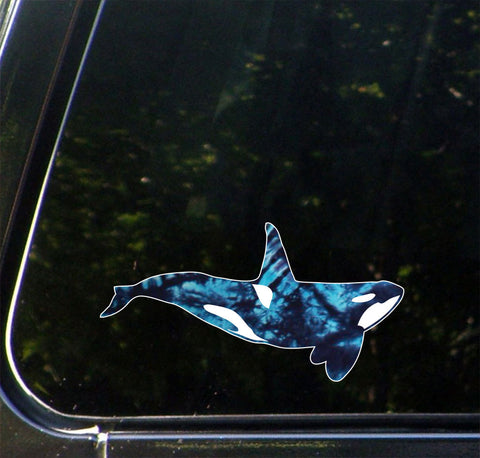 "CLR:CAR - Blue Tie Dye Orca - Killer Whale - Vinyl Car Decal - Copyright © YYDC (8.5""w x 4.5""h)"
