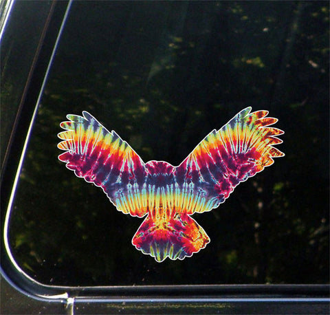 "CLR:CAR - Rainbow Tie Dye Owl - Car | Truck | Outdoor Use Vinyl Decal © YYDC. (8""w x 5.5""h)"