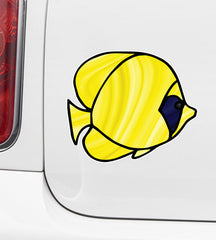 CLR:CAR - Tropical Fish - Bluecheek Butterflyfish - Stained Glass Style Opaque Vinyl Car Decal ©2018 YYDC (SIZE CHOICES)
