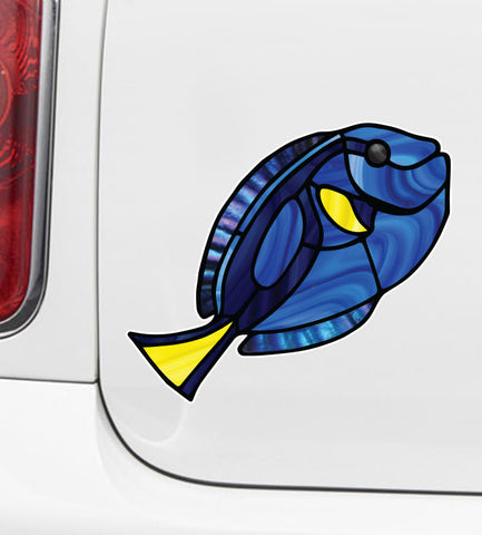 CLR:CAR - Tropical Fish - Blue Tang - Palette Surgeonfish - Stained Glass Style Opaque Vinyl Car Decal ©2018 YYDC