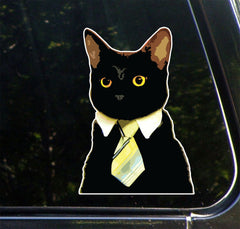 CLR:CAR -  Corporate Cat Wearing Tie - Vinyl Car Decal - Copyright 2014 © YYDC (Size Choices)