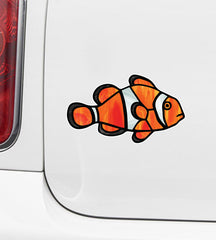 CLR:CAR - Tropical Fish - Clownfish - Stained Glass Style Opaque Vinyl Car Decal ©2018 YYDC (SIZE CHOICES)