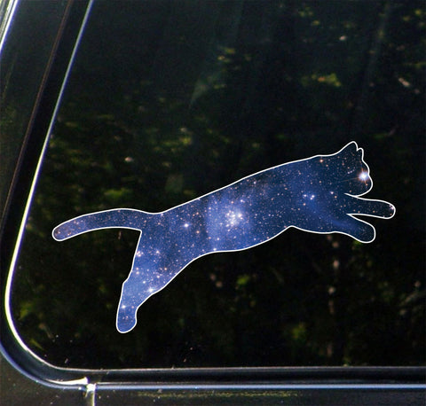 CLR:CAR - Cosmic Cat Jumping - Star Cat Galaxy -D1 - Vinyl Car Decal © YYDC. (Size Variations Available)