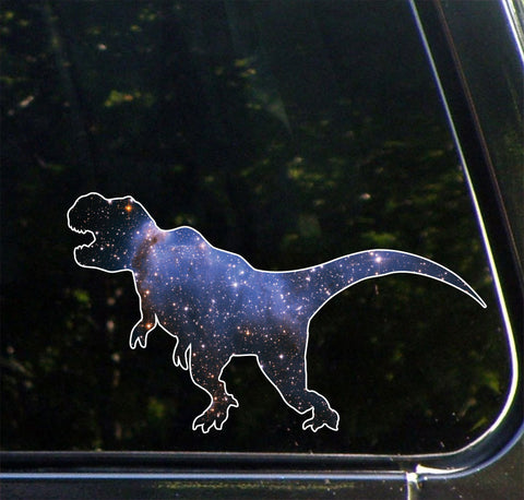 "CLR:CAR - Cosmic T-Rex - Galaxy Tyrannosaurus Dinosaur Decal for Cars and Trucks ©YYDC (7.5""w x 4.3""h)"