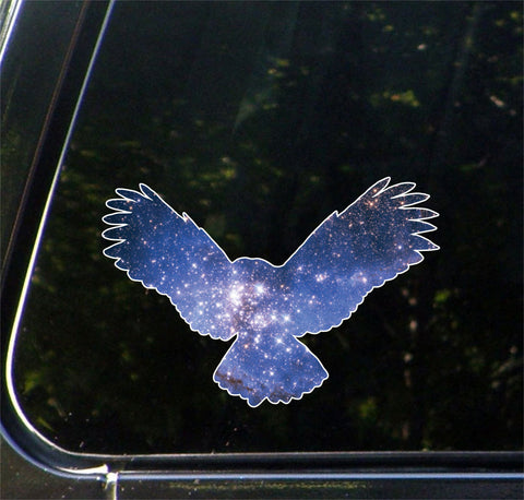 "CLR:CAR - Cosmic Owl - Vinyl Decal for Car | Truck | Outdoor - Copyright © YYDC (8""w x 5.5""h)"