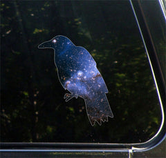 "CLR:CAR - Cosmic Crow - Raven - Vinyl Decal for Car | Truck | Outdoor - Copyright © YYDC (4""w x 4.75""h)"