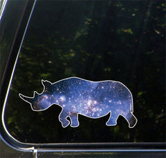 "CLR:CAR - Cosmic Rhino - Rhinoceros - Galaxy Guide Spirit Animal - Vinyl Car Decal - Copyright © YYDC (6.75""w x 3""h)"