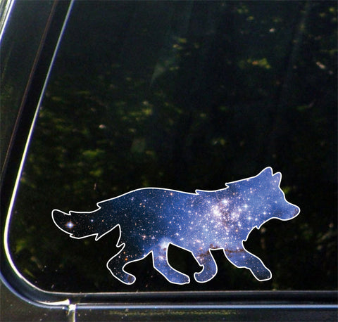 "CLR:CAR - Cosmic Wolf - Galaxy Guide Spirit Animal - Vinyl Car Decal - Copyright © YYDC (6""w x 2.75""h)"