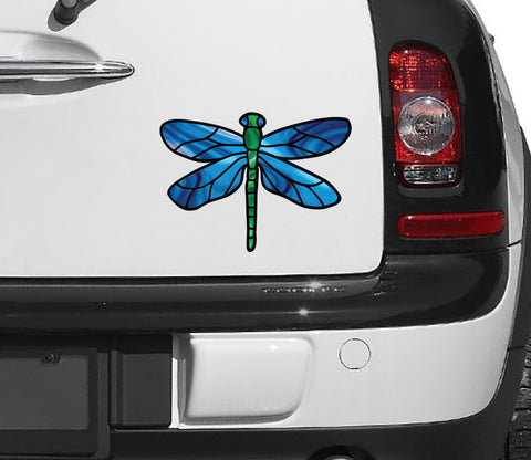 "CLR:CAR - Stained Glass Dragonfly D1 - Color Printed Vinyl Decal © YYDC  (5.75""w x 4""h) (Color Choices Available)"