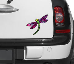 "CLR:CAR - Stained Glass Dragonfly D3 - Color Printed Vinyl Decal © YYDC  (5.75""w x 5.25""h) (Color Choices Available)"