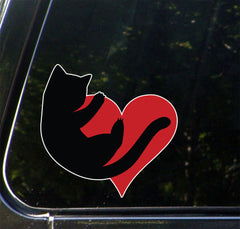 "CLR:CAR - Cat Hugging Heart - Vinyl Decal for Cars | Trucks | Outdoor Use - © 2016 YYDCo. (4.5""w x 4.5""h) (COLOR CHOICES)"