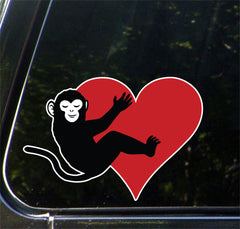 "CLR:CAR - Monkey Hugging Heart - Vinyl Decal for Cars | Trucks | Outdoor Use - © 2016 YYDCo. (5""w x 3.5""h) (COLOR CHOICES)"