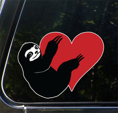 "CLR:CAR - Sloth Hugging Heart - Vinyl Decal for Cars | Trucks | Outdoor Use - © 2016 YYDCo. (5""w x 3.75""h) (COLOR CHOICES)"