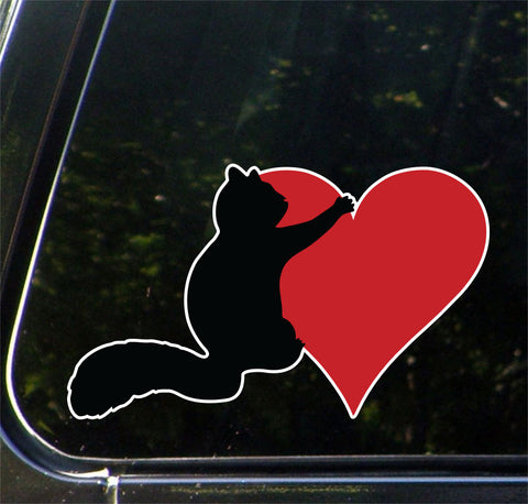 "CLR:CAR - Squirrel Hugging Heart - Vinyl Decal for Cars | Trucks | Outdoor Use - © 2016 YYDCo. (5.25""w x 3""h) (COLOR CHOICES)"