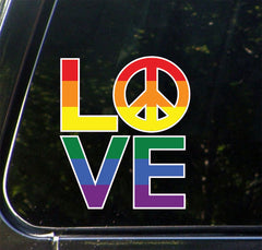 "CLR:CAR - Love Sculpture Peace Sign - Pride Rainbow - Vinyl Car Decal - ©Yadda-Yadda Design Co. (4.75""w x 5.5""h)"