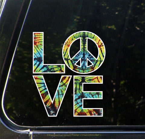 "CLR:CAR - Love Sculpture Peace Sign in Rainbow Tie Dye - Vinyl Car Decal - ©Yadda-Yadda Design Co. (4.75""w x 5.5""h)"