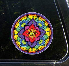 CLR:CAR - Floral Mandala -  Vinyl Car Decal - © 2016 YYDC (5 inch dia.)(Color Choices)
