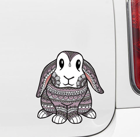 "CLR:CAR - Patterned Bunny Rabbit - Vinyl Car Decal - Copyright ©YYDC (MED)(5""w x 5.5""h)"
