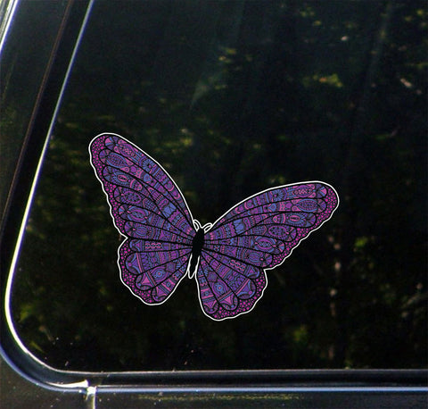"CLR:CAR - Patterned Butterfly - Vinyl Car Decal ©YYDC (6.5""w x 4""h) (COLOR CHOICES)"