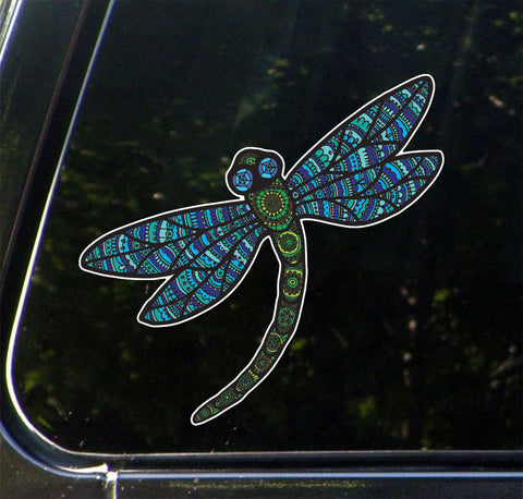 "CLR:CAR - Patterned Dragonfly - Vinyl Car Decal ©YYDC (5""w x 4.75""h) (Color Choices)"