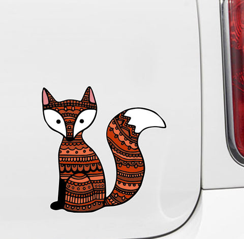 "CLR:CAR - Patterned Fox - Cute Fox - Vinyl Car Decal ©YYDC (5""w x 5""h)"