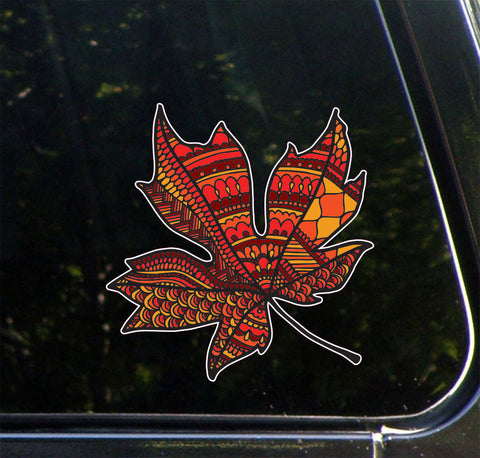 "CLR:CAR - Patterned Leaf - Vinyl Car Decal ©YYDC (4.25""w x 4.5""h)(Variations Available)"