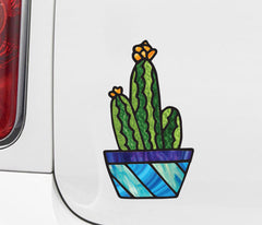 "CLR:CAR - Potted Cactus Plant - D2 - Stained Glass Style Vinyl Car Decal - Copyright 2017 © YYDC (3.75""w x 6.5""h)"