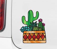 "CLR:CAR - Potted Cactus Succulent Plants - D3 - Stained Glass Style Vinyl Car Decal - Copyright 2017 © YYDC (5""w x 6.5""h)"