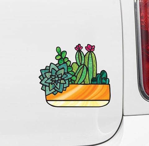 "CLR:CAR - Potted Succulent Plants - D1 - Stained Glass Style Vinyl Car Decal - Copyright 2017 © YYDC (6""w x 5.25""h)"