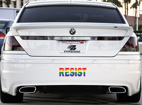 "CLR:CAR:LG - RESIST in Rainbow Pride - Vinyl Car Decal Sticker © YYDC (LARGE 12""w x 4""h)"