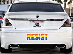 "CLR:XL - RESIST in Rainbow Pride - Vinyl Car Decal Sticker © YYDC (X-LARGE 22""w x 7""h)"