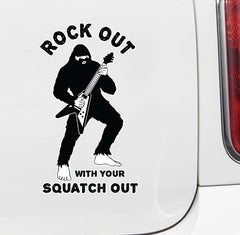 "CLR:CAR - Sasquatch - Rock Out w Your Squatch Out - Bigfoot Guitar Solo - Vinyl Car Decal © 2016 YYDCo. (4""w x 7""h)"