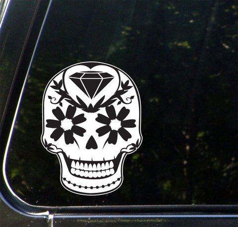 "CLR:CAR - Sugar Skull with Diamond and Daisies - Day of the Dead - Día de los Muertos - Vinyl Car Decal - ©YYDC (4""w x 5""h)"