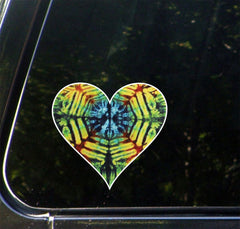 "CLR:CAR - Rainbow Tie Dye Heart - Vinyl Car Decal - ©2016 Yadda-Yadda Design Co. (4""w x 3.5""h)"