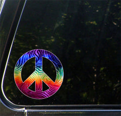 "CLR:CAR - Rainbow Tie Dye Peace Sign - Vinyl Car Decal Sticker © YYDC. (5.5"" Diameter)"