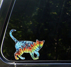CLR:CAR - Rainbow Tie Dye Cat Walking - Design 2 of 2 - Vinyl Car Decal © YYDC. (Size Variations Available)